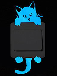 cheap -Light Switch Stickers - Cartoon Blue Luminous Wall Stickers Switch Wall Decal Glow In The Dark Cat Room Decor Kitchen Sticker Baby Room Wall Decorations