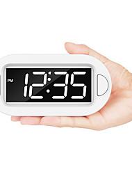 Недорогие -маленький светодиодный цифровой будильник с поводком, простой в эксплуатации, полный диапазон яркости, диммер, регулируемый уровень громкости будильника, питание компактные часы для спальни, тумбочка