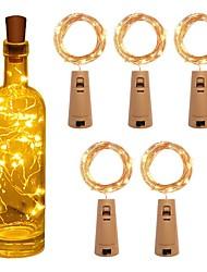 cheap -5pcs String Led Wine Bottle with Cork 2M 20 LEDs Bottle Lights Battery Cork for Party Wedding Christmas Halloween Bar Decor