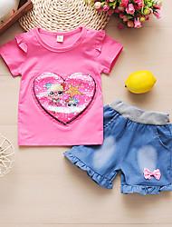 cheap -Baby Girls' Basic Print Sequins / Patchwork Short Sleeve Long Long Clothing Set Blushing Pink