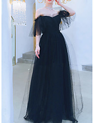 cheap -A-Line Wedding Dresses Off Shoulder Floor Length Tulle Short Sleeve Formal Black with Lace Insert 2020