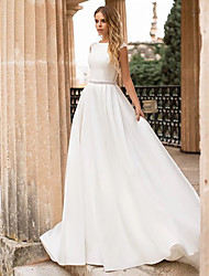 cheap -A-Line Bateau Neck Court Train Polyester / Lace Cap Sleeve Country / Simple Backless / Elegant Wedding Dresses with Appliques 2020