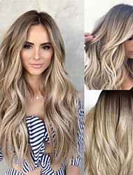 cheap -Synthetic Wig Body Wave Asymmetrical Wig Long Blonde Synthetic Hair 25 inch Women's curling Light Brown