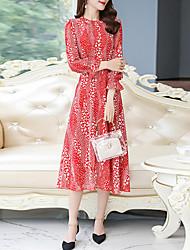 cheap -Women's Daily Date Sophisticated Elegant Swing Dress - Animal Print Black Red M L XL XXL