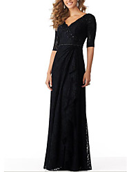 cheap -A-Line Elegant Engagement Formal Evening Dress Plunging Neck Half Sleeve Floor Length Lace with Pleats Beading 2021