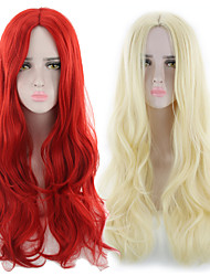 cheap -halloweencostumes Synthetic Wig Curly Asymmetrical Wig Long Light golden Red Synthetic Hair 27 inch Women's Best Quality Red Blonde
