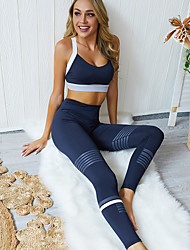 cheap -Women's 2-Piece Activewear Set Workout Outfits Athletic 2pcs High Waist Nylon Breathable Quick Dry Soft Fitness Gym Workout Running Jogging Sportswear Sport Bra With Running Pants Dark Blue Activewear