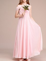 cheap -A-Line One Shoulder Ankle Length Chiffon Junior Bridesmaid Dress with Ruching