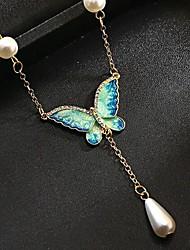 Недорогие -Жен. Ожерелья с подвесками Бабочка Симпатичные Стиль Хром Зеленый павлин 46+6 cm Ожерелье Бижутерия Назначение Повседневные