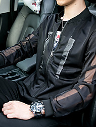 cheap -Men's Daily Simple / Casual Summer Regular Jacket, Print Round Neck Long Sleeve White / Black