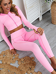 cheap -Women's 2pcs Tracksuit Yoga Suit Winter Fashion Leggings Crop Top Clothing Suit ArmyGreen Pink Spandex Fitness Gym Workout Running High Waist Tummy Control Butt Lift 4 Way Stretch Long Sleeve Sport