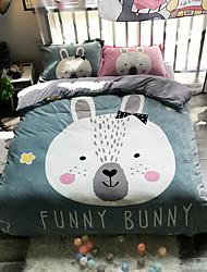 cheap -Rabbit Head Cartoon Flannel Duvet Cover Set Queen Bedding Cover Set Boys Girls Duvet Comforter Cover Set Luxury Soft Queen Duvet Cover Set