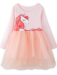 cheap -Toddler Girls' Cartoon Long Sleeve Above Knee Dress Blushing Pink