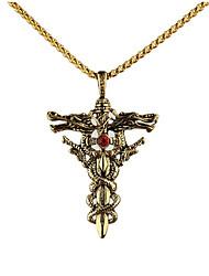 Недорогие -Муж. Ожерелья с подвесками геометрический Крест Мода Титановая сталь Золотой Серебряный 50 cm Ожерелье Бижутерия 1шт Назначение Подарок Повседневные