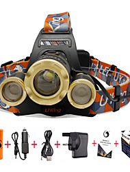 cheap -U'King Headlamps Headlight Zoomable 4800 lm LED LED 3 Emitters 3 4 Mode with Batteries and Charger Zoomable Adjustable Focus Compact Size Easy Carrying Camping / Hiking / Caving Everyday Use Cycling