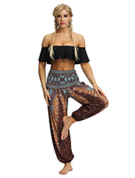 cheap -Women's Dancer Yoga Meditation Masquerade Boho Exotic Dancewear Polyster Purple Burgundy Dark Green Pants