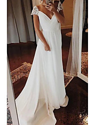 cheap -A-Line V Neck Sweep / Brush Train Chiffon Cap Sleeve Wedding Dresses with Lace Insert 2020