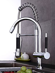 cheap -Kitchen faucet - Single Handle Two Holes Electroplated Pull-out / ­Pull-down Centerset Contemporary Kitchen Taps