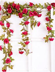 cheap -Artificial Flower Rose Rattan European Wedding Hanging Basket Home Decoration 1 branch 220cm