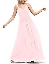 cheap -A-Line Spaghetti Strap Floor Length Satin Bridesmaid Dress with Ruching