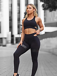 cheap -Women's 2-Piece Activewear Set Workout Outfits Athletic 2pcs High Waist Nylon Breathable Quick Dry Soft Fitness Gym Workout Running Jogging Sportswear Sport Bra With Running Pants Black Blue Green