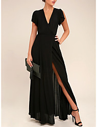 cheap -A-Line V Neck Ankle Length Chiffon Black Engagement / Formal Evening Dress with Pleats / Split 2020