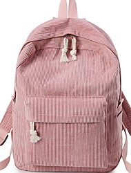 cheap -Women's Corduroy School Bag Rucksack Commuter Backpack Adjustable Large Capacity Zipper Daily Backpack Black Blue Almond Blushing Pink Green