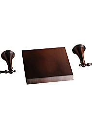 cheap -Bathroom Sink Faucet - Wall Mount / Waterfall Oil-rubbed Bronze Wall Installation Two Handles Three HolesBath Taps