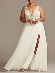 cheap -A-Line Jewel Neck Sweep / Brush Train Chiffon / Tulle Regular Straps Plus Size Made-To-Measure Wedding Dresses with Beading / Split Front 2020