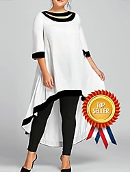 cheap -Women's Plus Size Midi Dress - 3/4 Length Sleeve Spring & Summer Casual 2020 Wine White Black Blue Navy Blue S M L XL XXL XXXL XXXXL XXXXXL