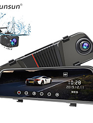 cheap -Junsun H11 Back Camera 1080P Car DVR Dual Lens Dash Cam 10'' IPS Touch Screen Rear view Mirror Driving Recording Recorder