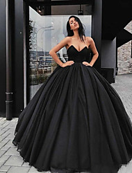 cheap -Ball Gown Wedding Dresses Sweetheart Neckline Floor Length Organza Satin Strapless Black Modern with Draping 2021