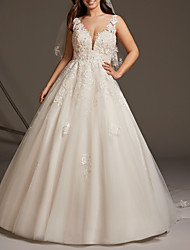cheap -A-Line Wedding Dresses V Neck Sweep / Brush Train Lace Tulle Regular Straps See-Through Illusion Detail Backless with Embroidery 2021