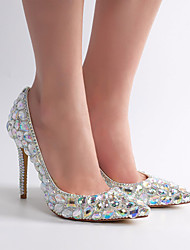 cheap -Women's Wedding Shoes Glitter Crystal Sequined Jeweled Stiletto Heel Pointed Toe Rhinestone / Crystal / Sparkling Glitter Lace / PU Vintage / Minimalism Spring &  Fall / Spring & Summer Silver