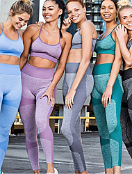cheap -Women's 2-Piece Seamless Activewear Set Workout Outfits Athletic 2pcs High Waist Nylon Breathable Quick Dry Soft Fitness Gym Workout Running Jogging Sportswear Sport Bra With Running Pants Watermelon