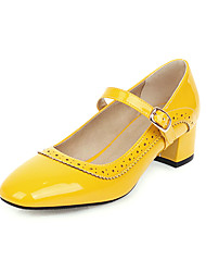 cheap -Women's Heels Low Heel Square Toe Stitching Lace Patent Leather Casual / Minimalism Spring & Summer Black / White / Yellow