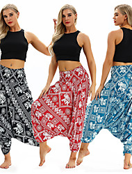 cheap -Women's Yoga Pants Harem Baggy Print Black Red Blue Dance Fitness Gym Workout Bloomers Sport Activewear Lightweight Breathable Quick Dry Soft Stretchy Loose