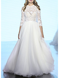 cheap -A-Line Jewel Neck Sweep / Brush Train Lace / Tulle 3/4 Length Sleeve Plus Size / Illusion Sleeve Wedding Dresses with Bow(s) 2020