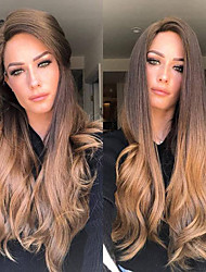 cheap -Synthetic Wig Loose Curl Asymmetrical Wig Long Ombre Blonde Synthetic Hair 27 inch Women's Color Gradient Best Quality Blonde