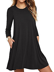cheap -Women's 2020 Wine Purple Dress Spring & Summer A Line Solid Colored S M