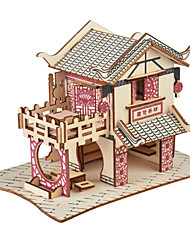 cheap -3D Puzzle Model Building Kit Wooden Model Chinese Architecture Creative DIY Simulation Wood 79 pcs Classic Kid's Adults' Boys' Girls' Toy Gift
