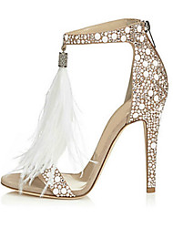 cheap -Women's Sandals / Wedding Shoes Furry Feather Summer Stiletto Heel Open Toe Sweet Wedding Party & Evening Rhinestone / Feather / Tassel Solid Colored Suede White / EU41