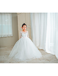 cheap -Ball Gown Floor Length Wedding / First Communion / Birthday Flower Girl Dresses - Lace / Tulle Long Sleeve Boat Neck with Bows / Belt