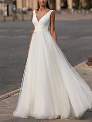 cheap -A-Line V Neck Floor Length Tulle Regular Straps Plus Size Wedding Dresses with Appliques 2020