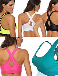 cheap -Women's Sports Bra Medium Support Removable Pad Wireless Fashion White Black Light Green Fuchsia Green Fitness Gym Workout Running Bra Top Sport Activewear Breathable High Impact Moisture Wicking