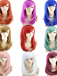 cheap -Synthetic Wig Curly kinky Straight Asymmetrical Wig Medium Length Creamy-white Pink Black / Burgundy Dark Red Burgundy Synthetic Hair 20 inch Women's Best Quality Mixed Color