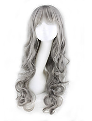 cheap -Synthetic Wig Curly Asymmetrical Wig Long Grey Synthetic Hair 27 inch Women's Gray
