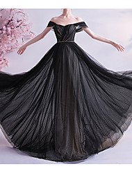 cheap -A-Line Off Shoulder Sweep / Brush Train Tulle Cap Sleeve Formal Black / Modern Wedding Dresses with 2020