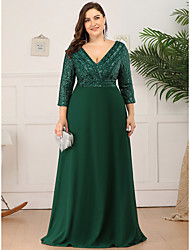cheap -Sheath / Column Mother of the Bride Dress Elegant Plus Size V Neck Floor Length Polyester 3/4 Length Sleeve with Sequin 2020