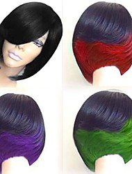 cheap -Synthetic Wig Straight Bob Wig Medium Length Black / Burgundy Natural Black Black / Green Black / Purple Black / Red Synthetic Hair 10 inch Women's Color Gradient Red Black